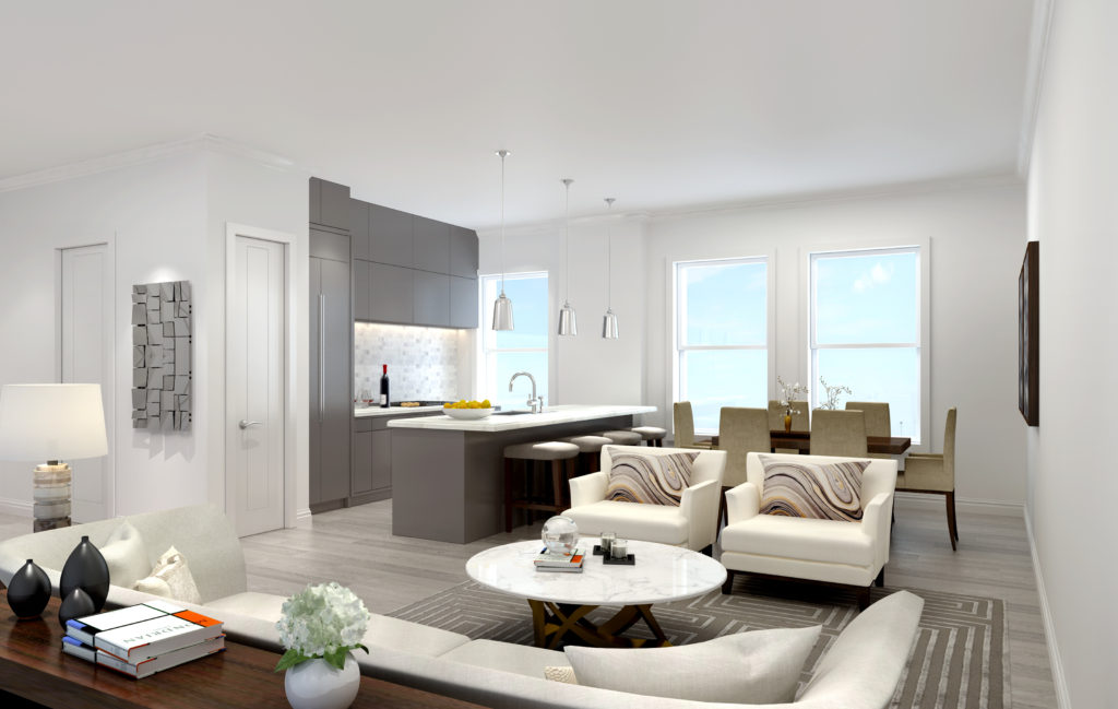 The imagae is an artistic rendering and not an photo of the actual apartment. The final finishes and layout will be similar but may differ slightly